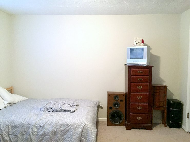 murphy bed wall before - guest room