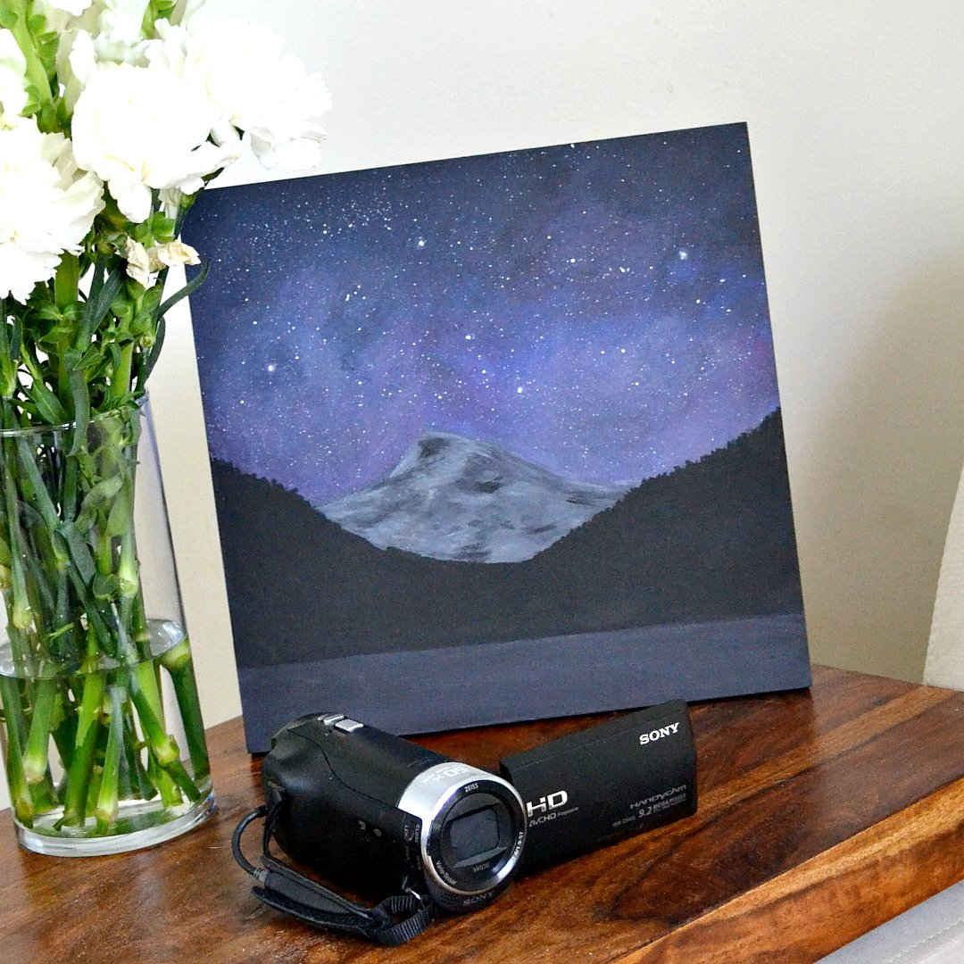 DIY Night Sky Mountain Painting (Easy Custom Art)