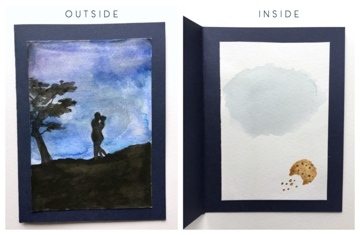 outside and inside of watercolor card