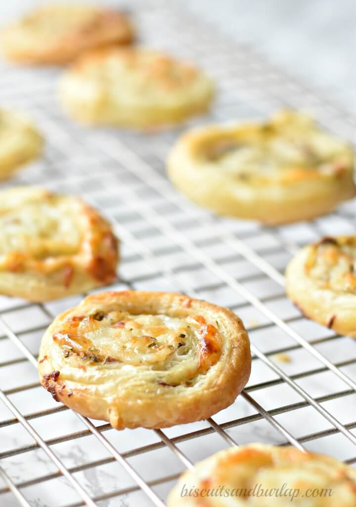 puff pastry pinwheels on cooling rack