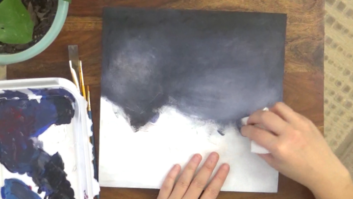 covering canvas and using paper towels to help add texture
