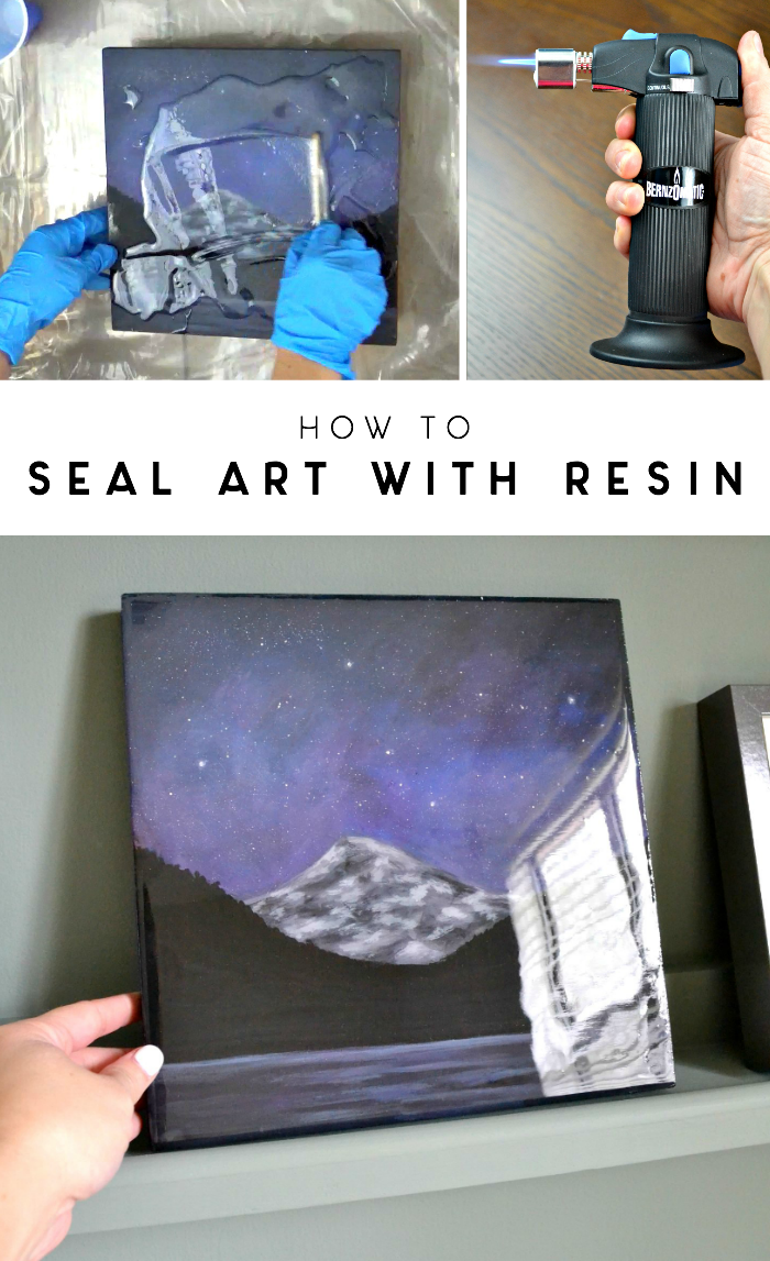 This post is part of a 3-part series where I'm sharing my full process of creating, sealing, and framing an acrylic art piece. Catch part 1 — my painting tutorial — here. And now, onto sealing this canvas with epoxy resin to get a clear, glossy finish that protects!