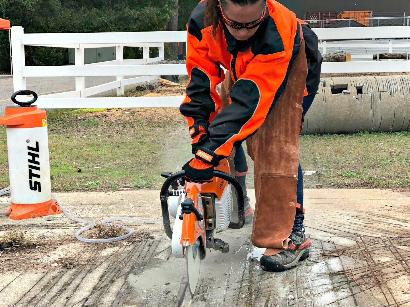 me cutting into concrete at STIHL headquarters