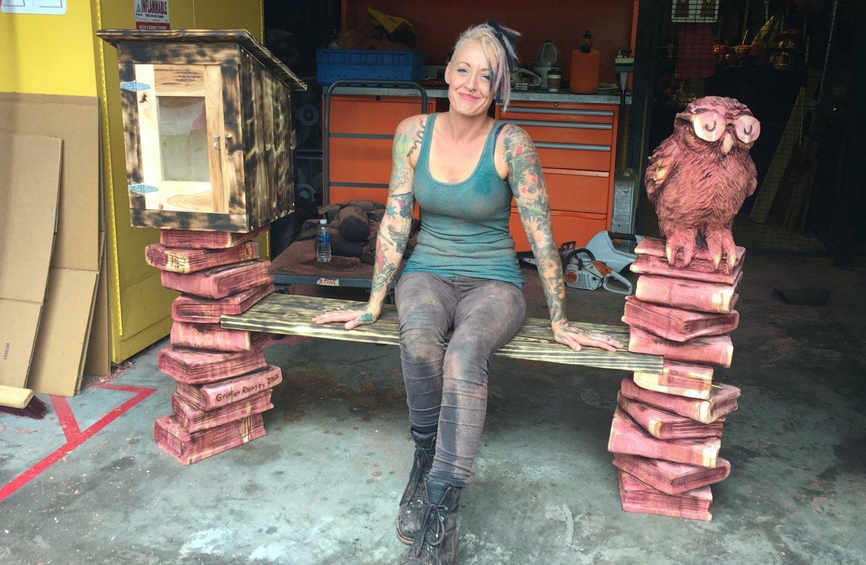 power carved cedar bench by Griffon Ramsey