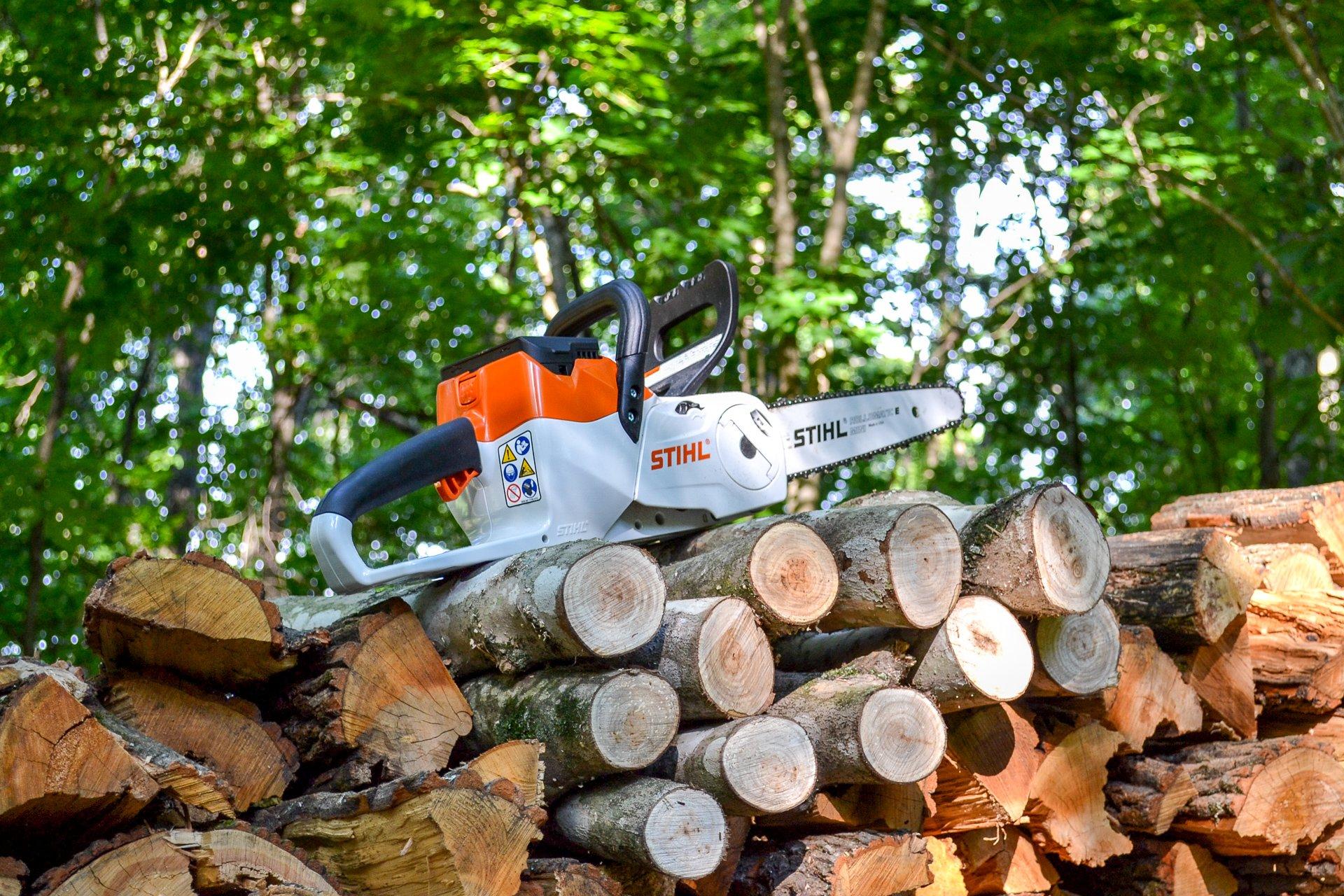 STIHL chainsaw on woodpile - 1
