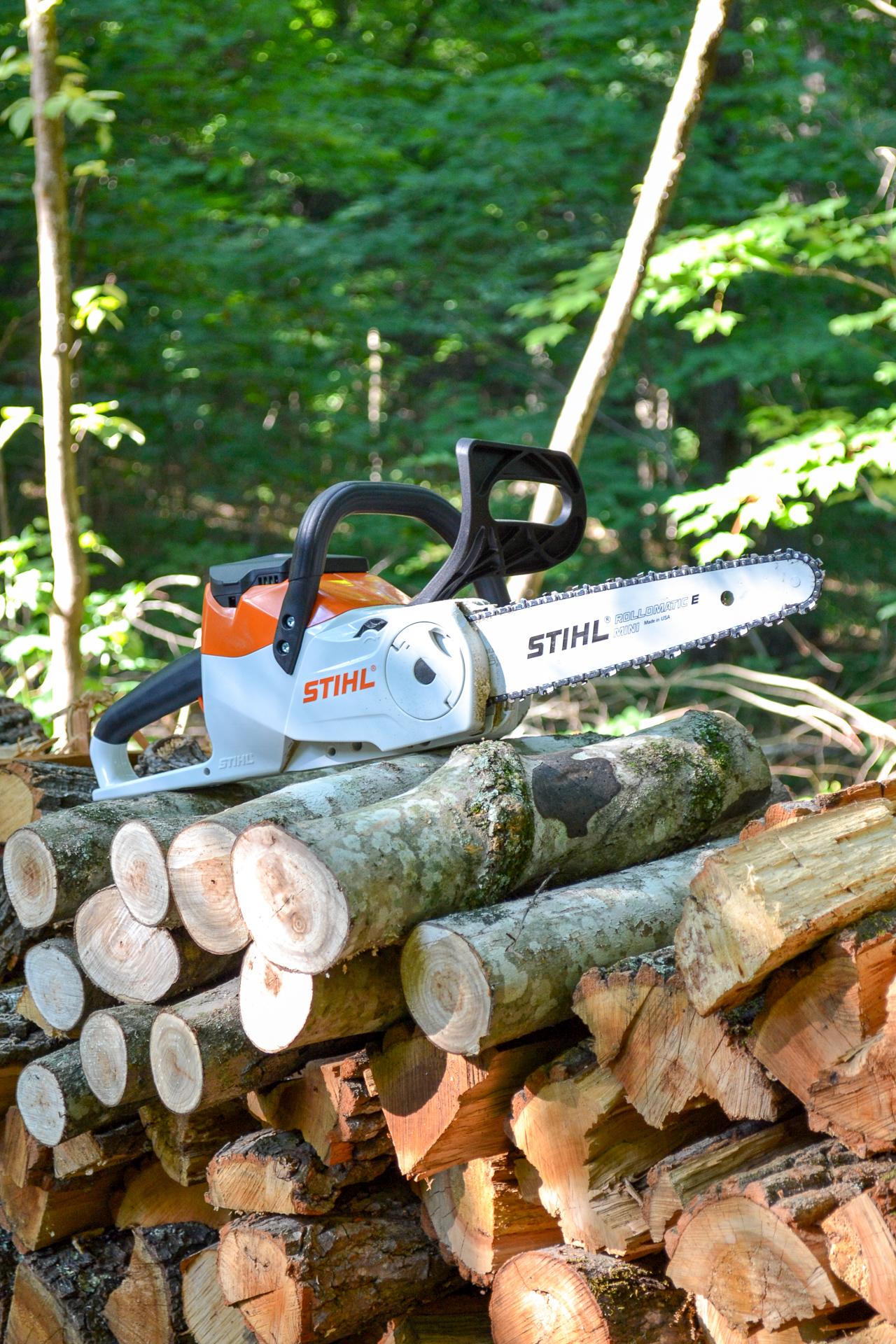 STIHL chainsaw on woodpile - 3