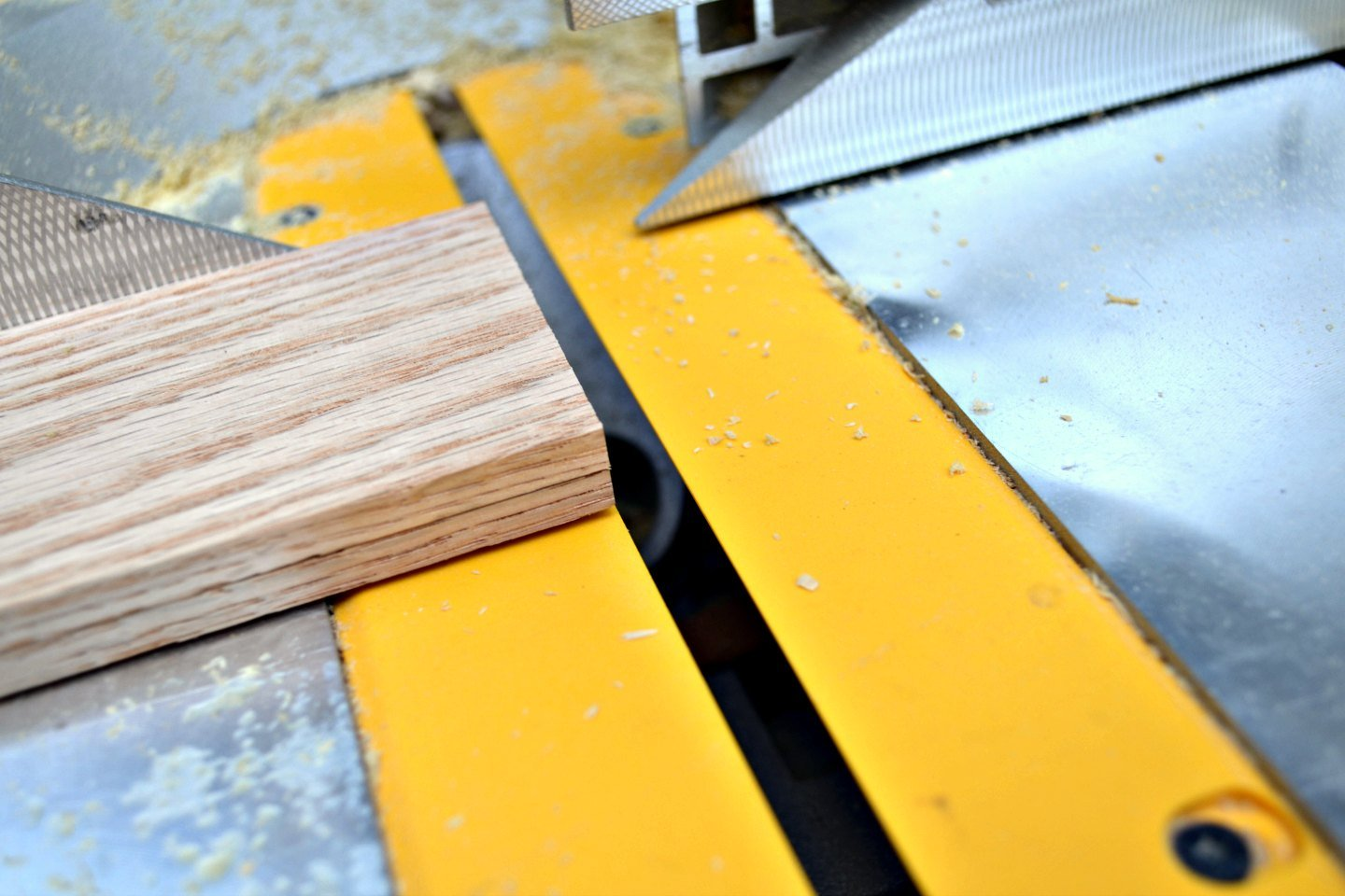 cut oak dividers to size - 2 at a time