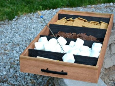 diy smores tray with marshmallows and chocolate
