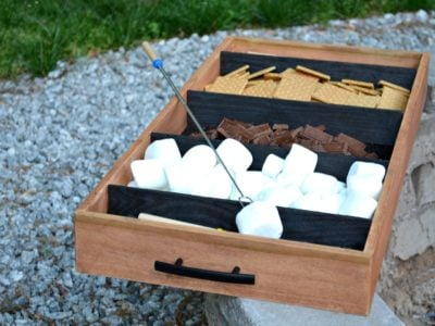diy charred wood fireside smores tray