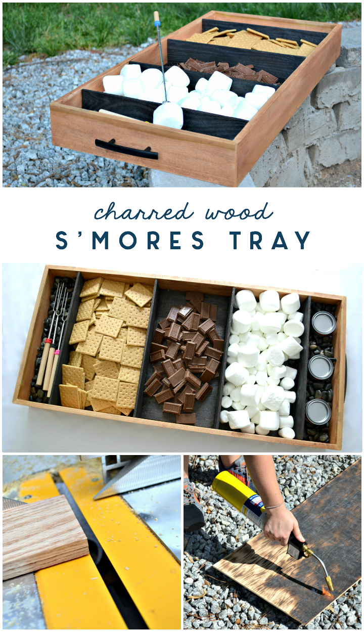 diy charred wood smores tray - shou sugi ban - yakisugi tutorial
