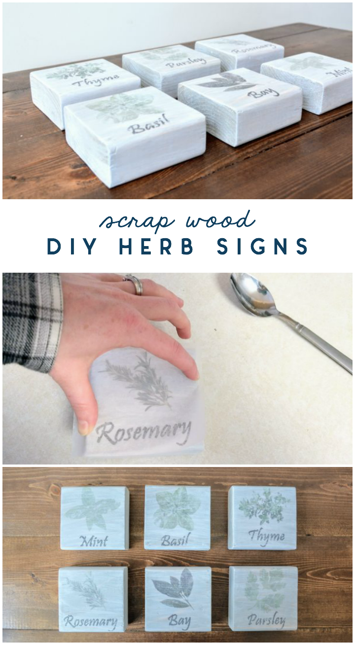 scrap wood diy herb signs