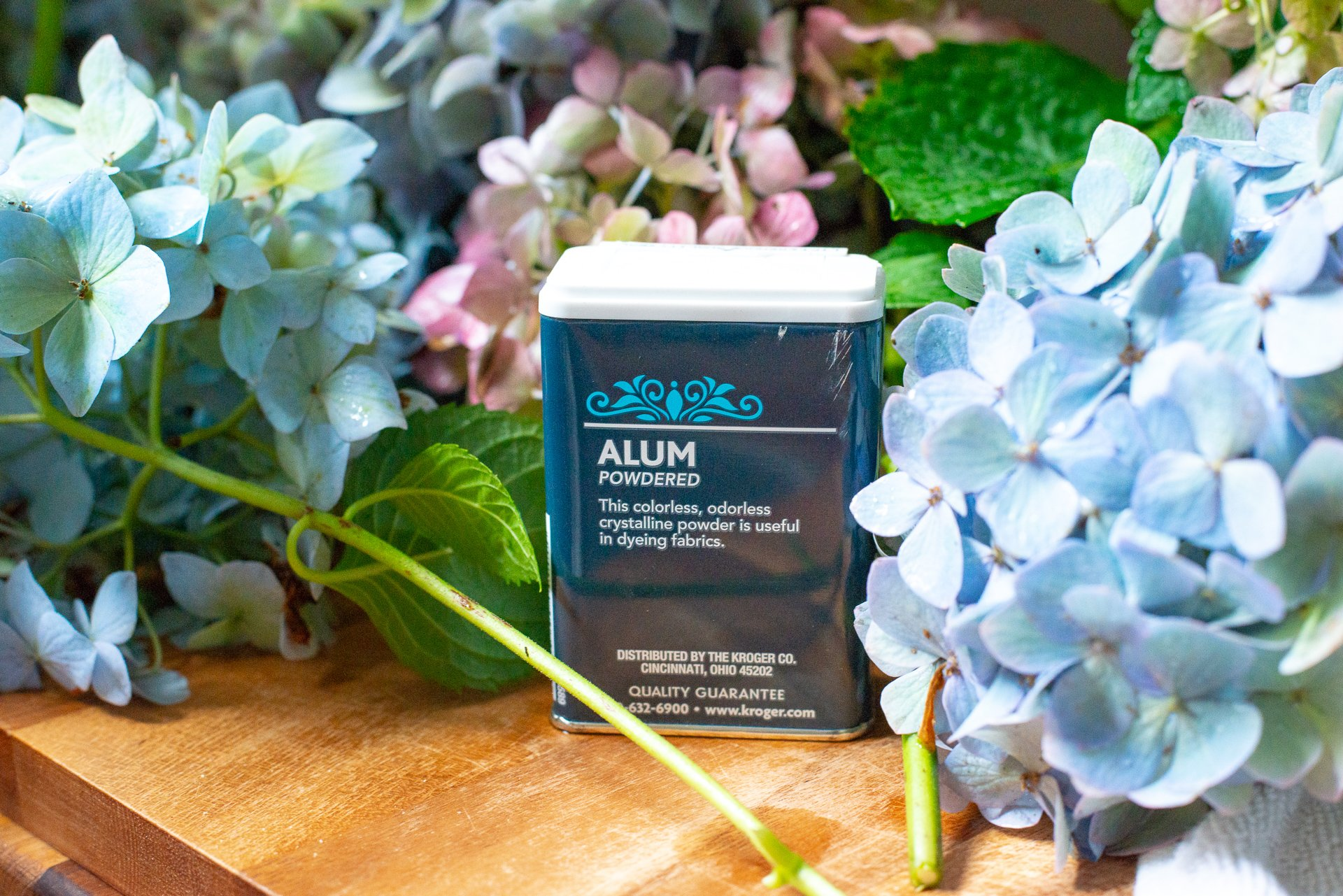 Alum is a spice that can be found in most grocery stores and keeps hydrangea bouquets from wilting - use alum to keep hydrangea bouqets fresh