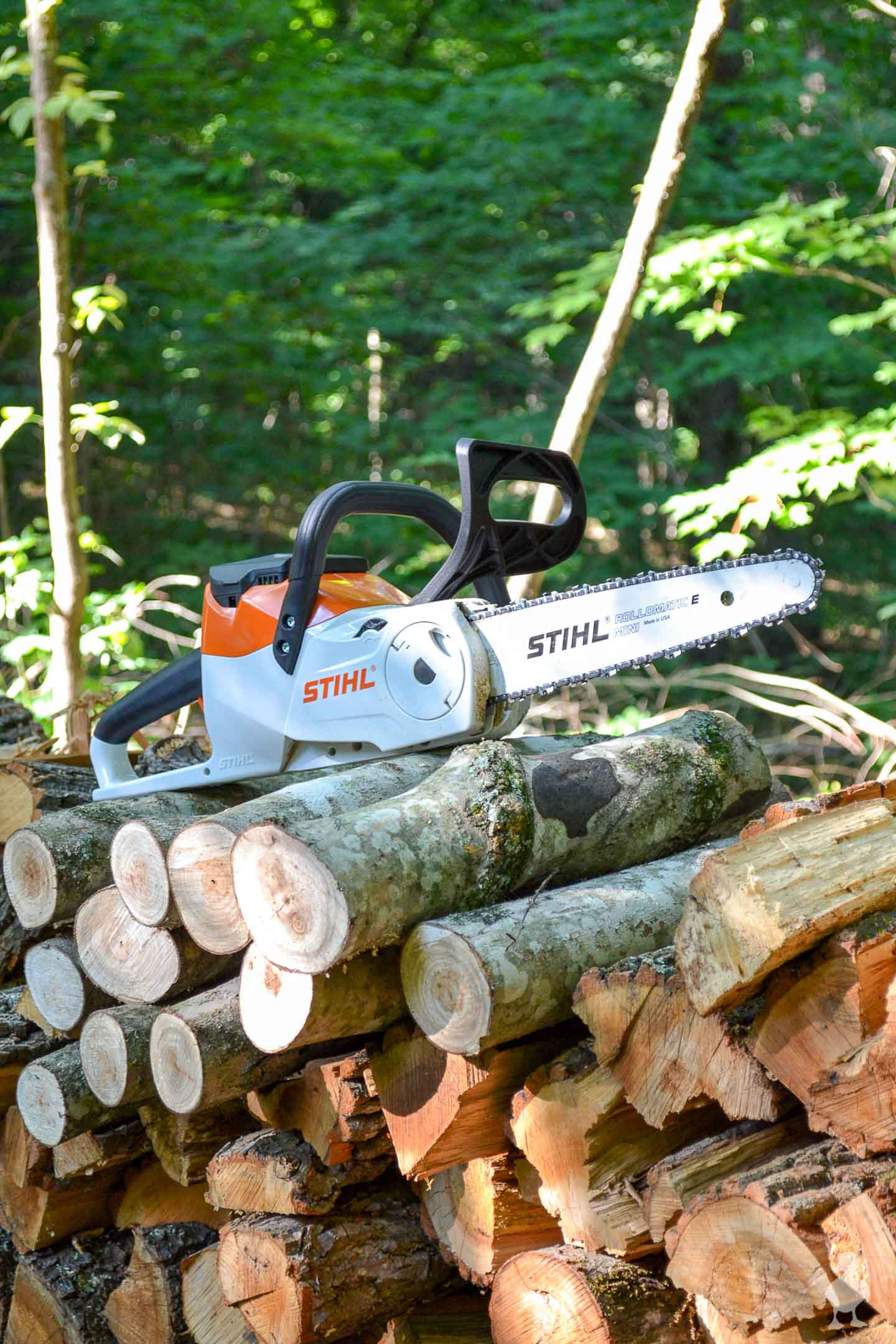 STIHL chainsaw on woodpile - 3