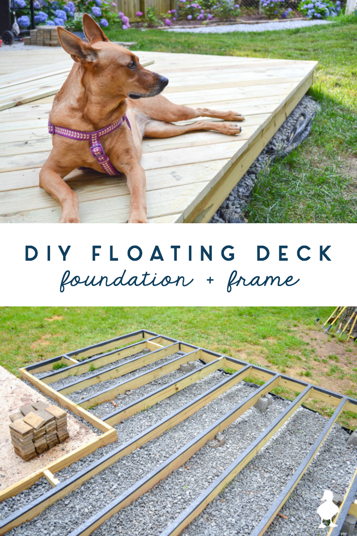 How to build a DIY floating deck (aka ground level deck) that is on a slope and partially over concrete - SO MUCH covered in what you need to know! The foundation and framing are the most important part: ground contact lumber, how to deal with a sloping yard, how to drill through concrete, how to keep water out and prevent wood rot, and so much more. #diy #deck #floatingdeck #groundlevel #construction #woodworking #outdoor #build #deckdesign #groundleveldeck #foundation #framing