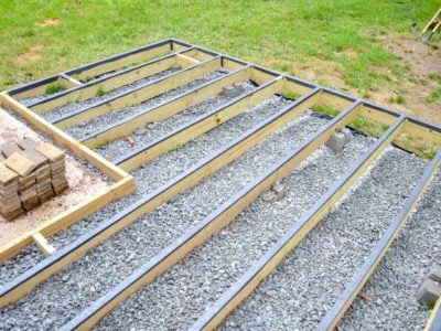 floating deck frame with flashing tape