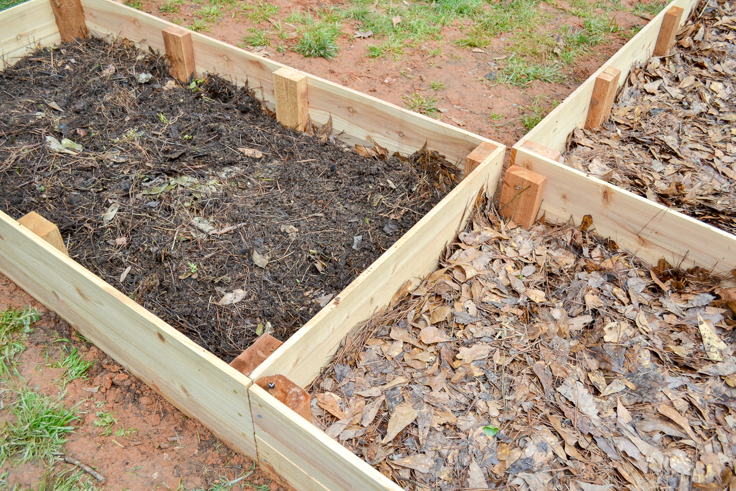 layered garden beds to fill with homemade compost and soil