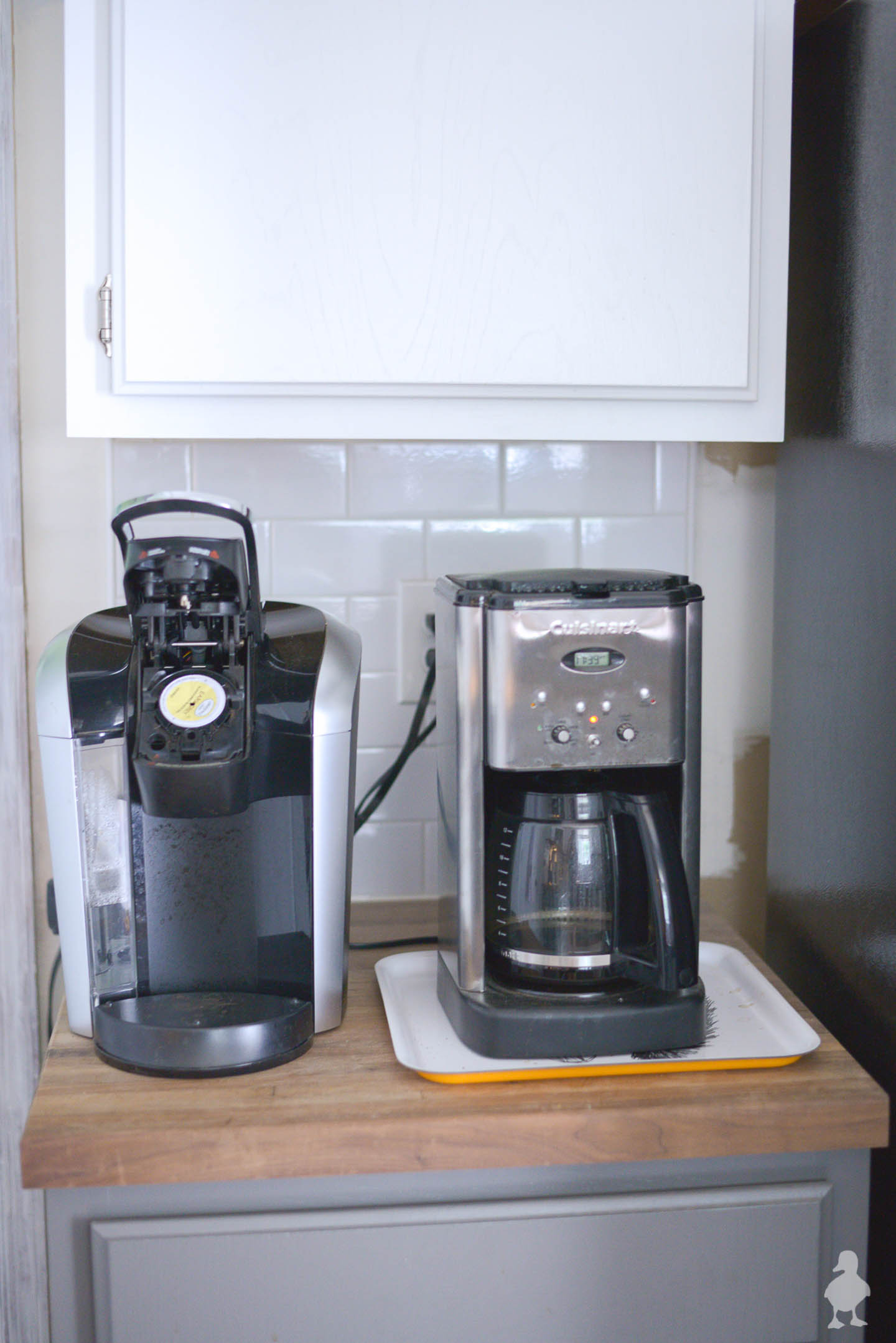 coffee station with two coffee makers