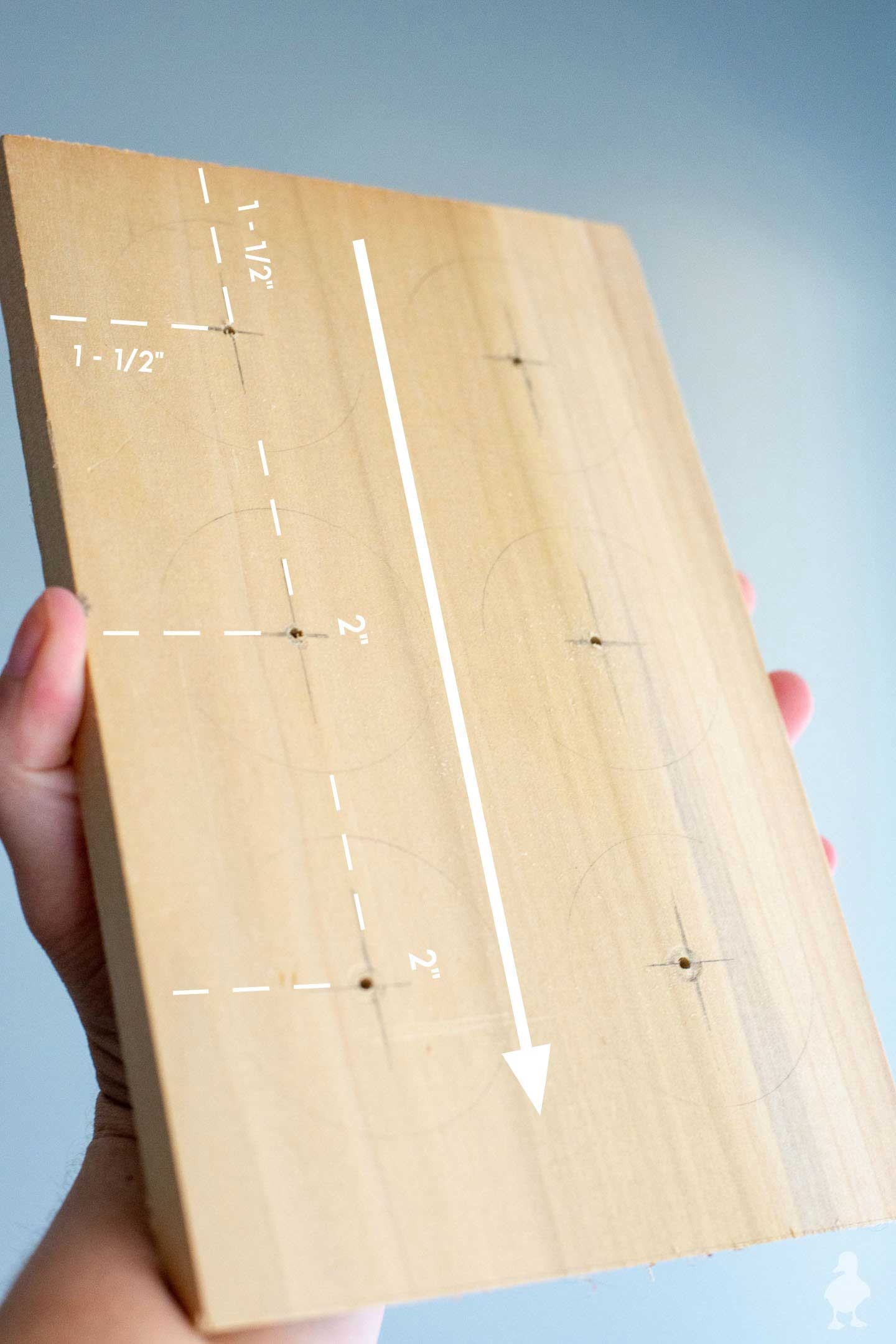 marks on wood for drill holes