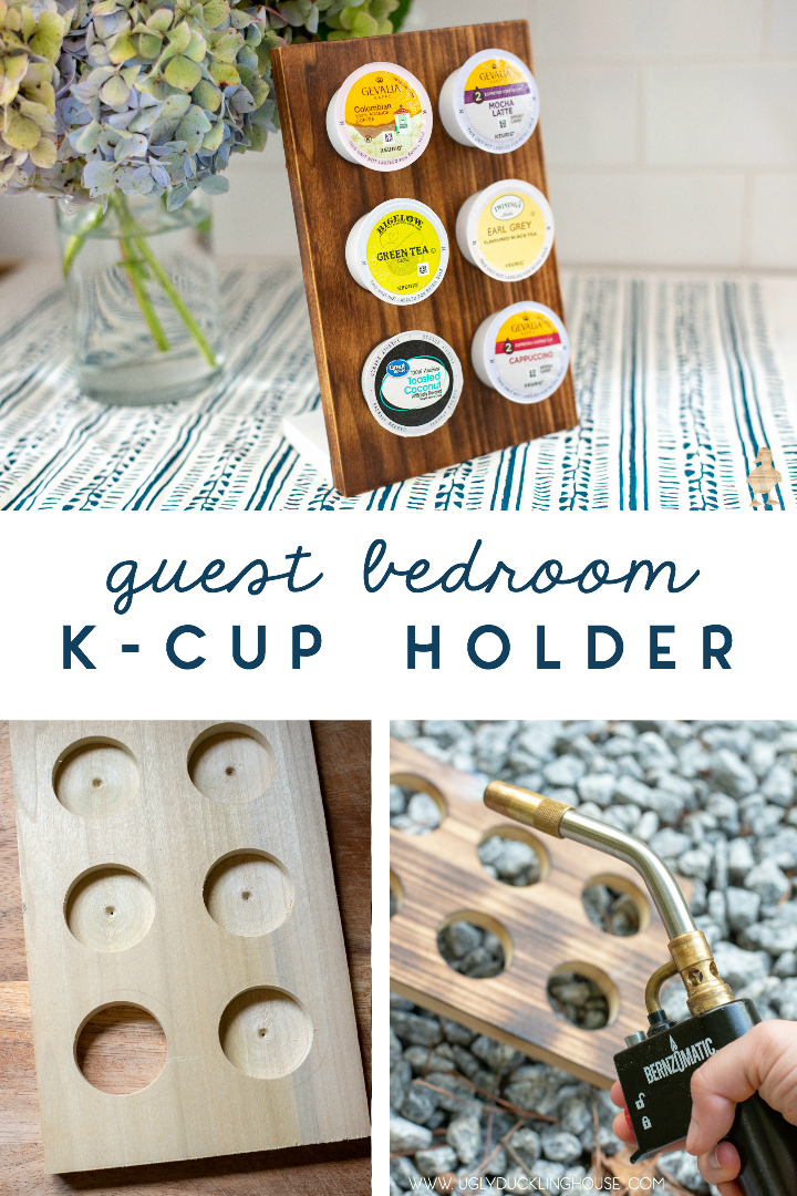 This DIY K-cup holder made from scrap wood is perfect for my kitchen's limited counter space, but it would also look great in a guest bedroom! Sponsored by Bernzomatic. #woodburn #kcupholder #coffeepodholder #shousugiban #scrapwood #torchedwood #japanese #woodworking #guestbedroom #coffee