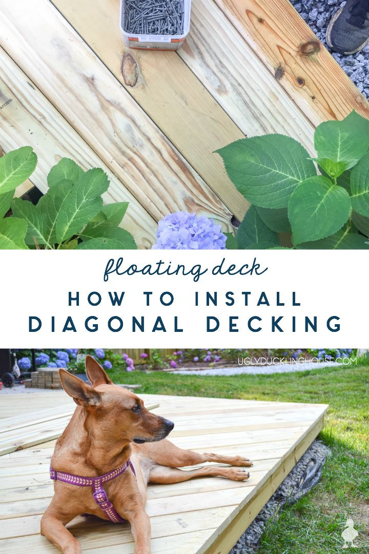 how to install diagonal decking - diy floating deck