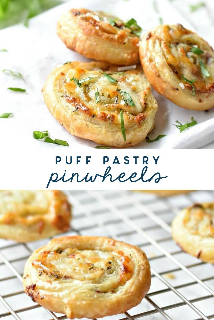 puff pastry pinwheels on cooling rack and on white tablecloth