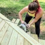 me trimming off end of deck boards