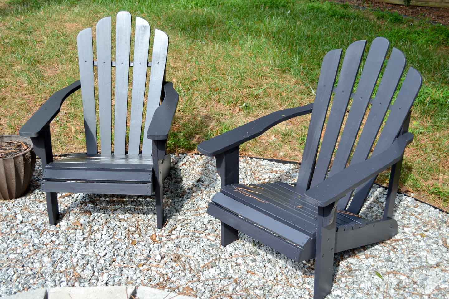Adirondack chairs painted Tricorn Black