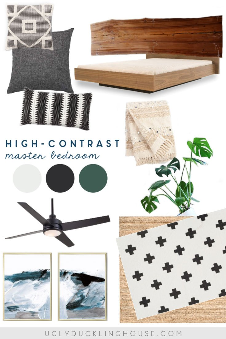 high contrast master bedroom mood board design inspiration