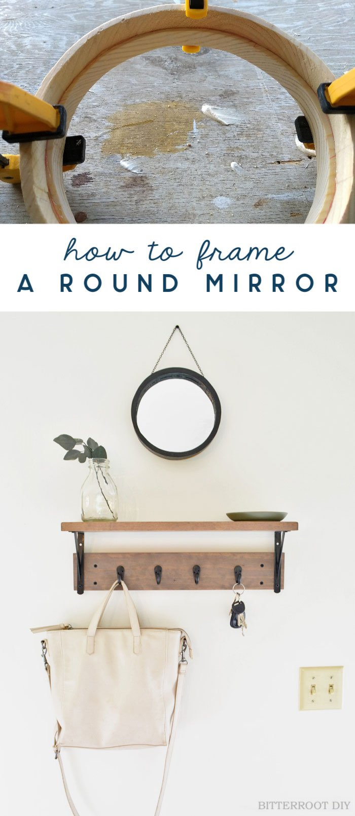 How to frame a mirror WITHOUT a router! Easy tutorial with just a few tools - must try! #roundmirror #howto #decorating #woodworking #scrapwood #beginnerwoodworking #jigsaw #frameamirror