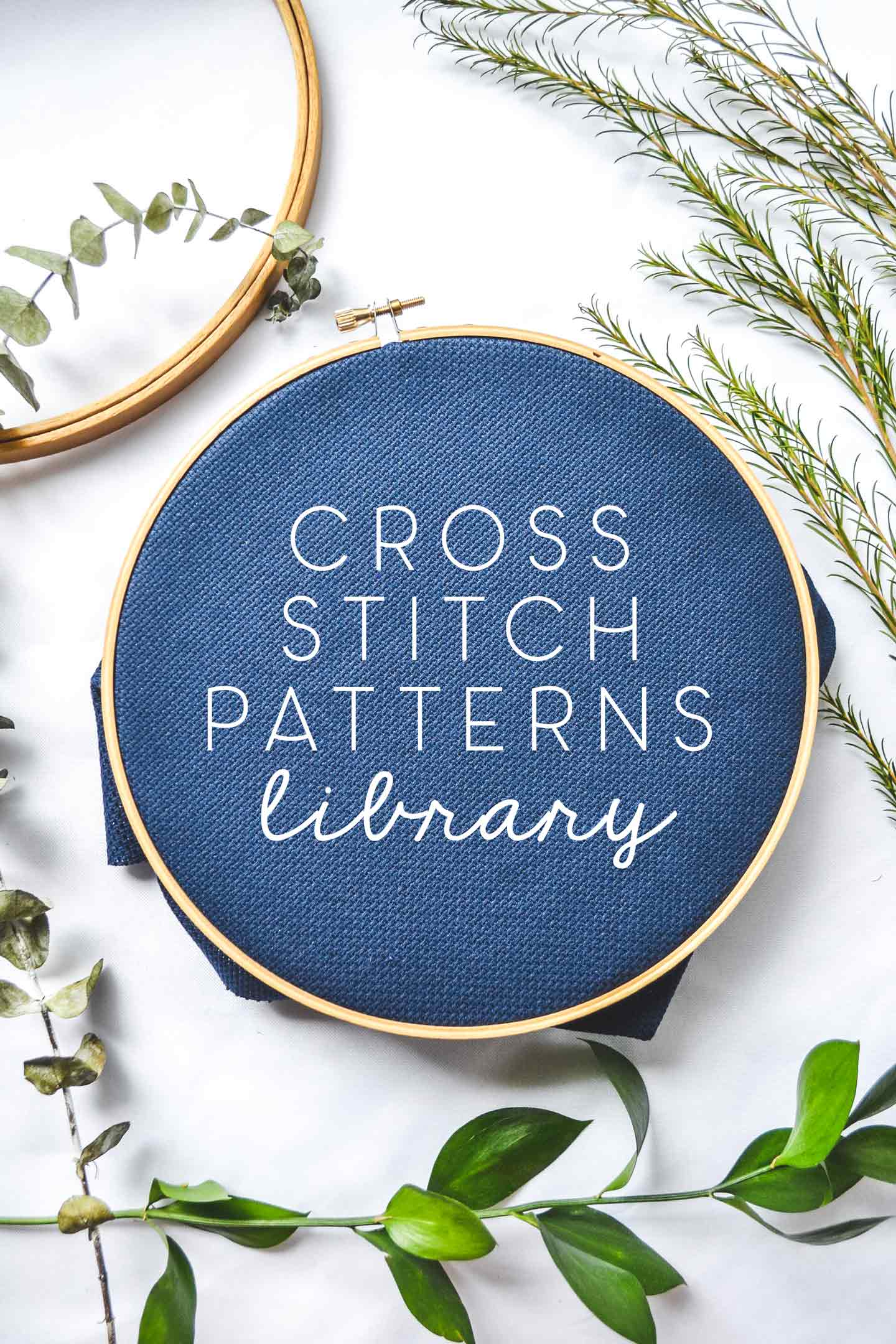 cross stitch patterns library flatlay