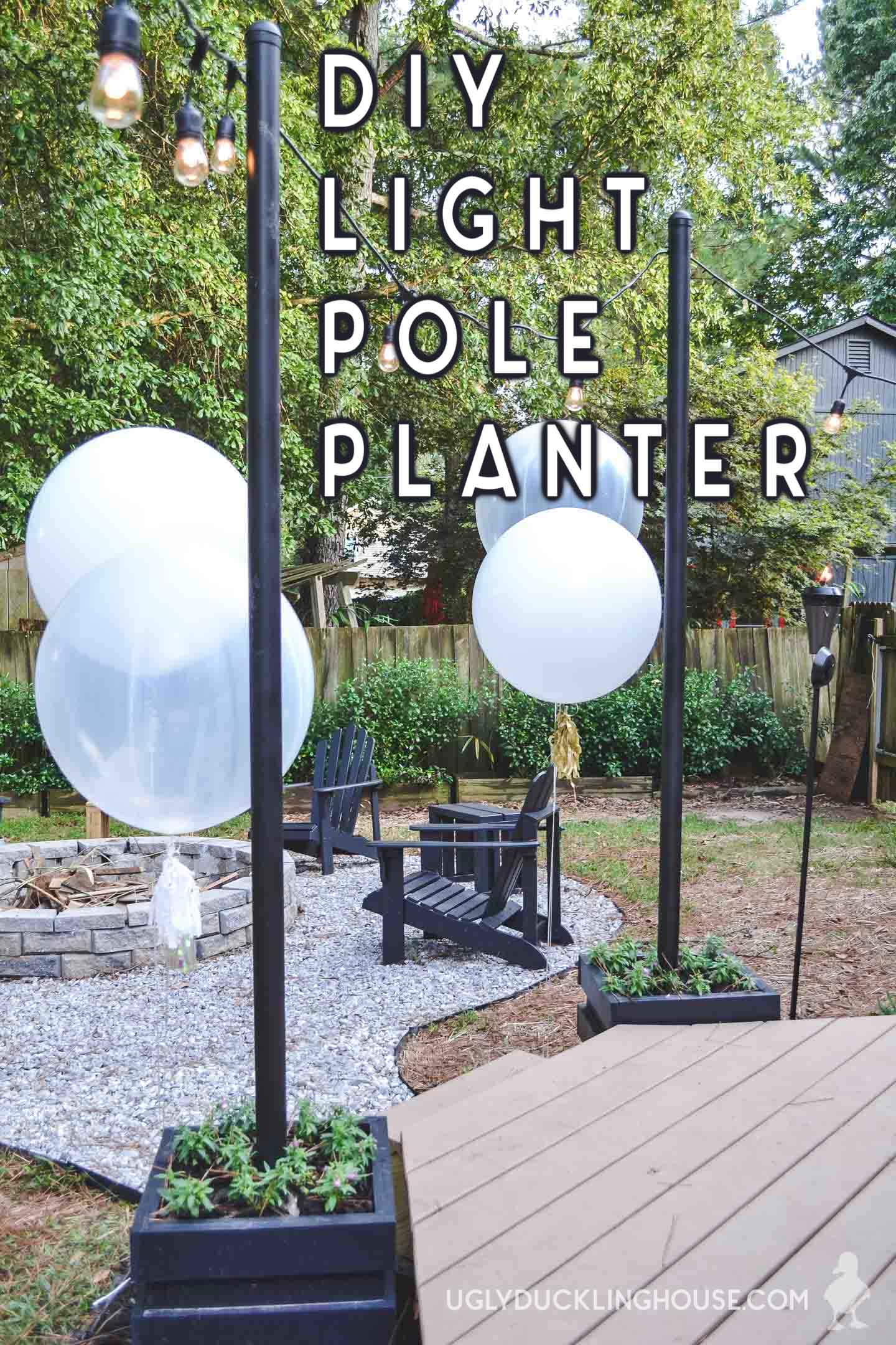 DIY backyard light poles with planters