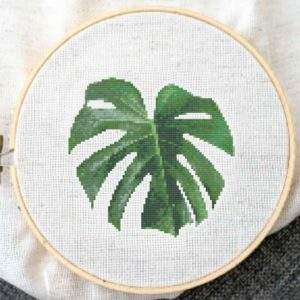 monstera leaf cross stitch pattern