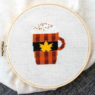 pumpkin spice latte cross stitch pattern