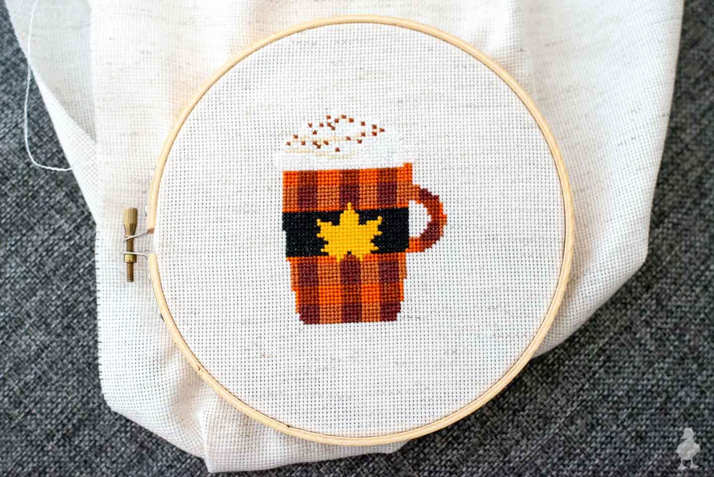 Pumpkin Spice Latte Cross Stitch | Free Pattern