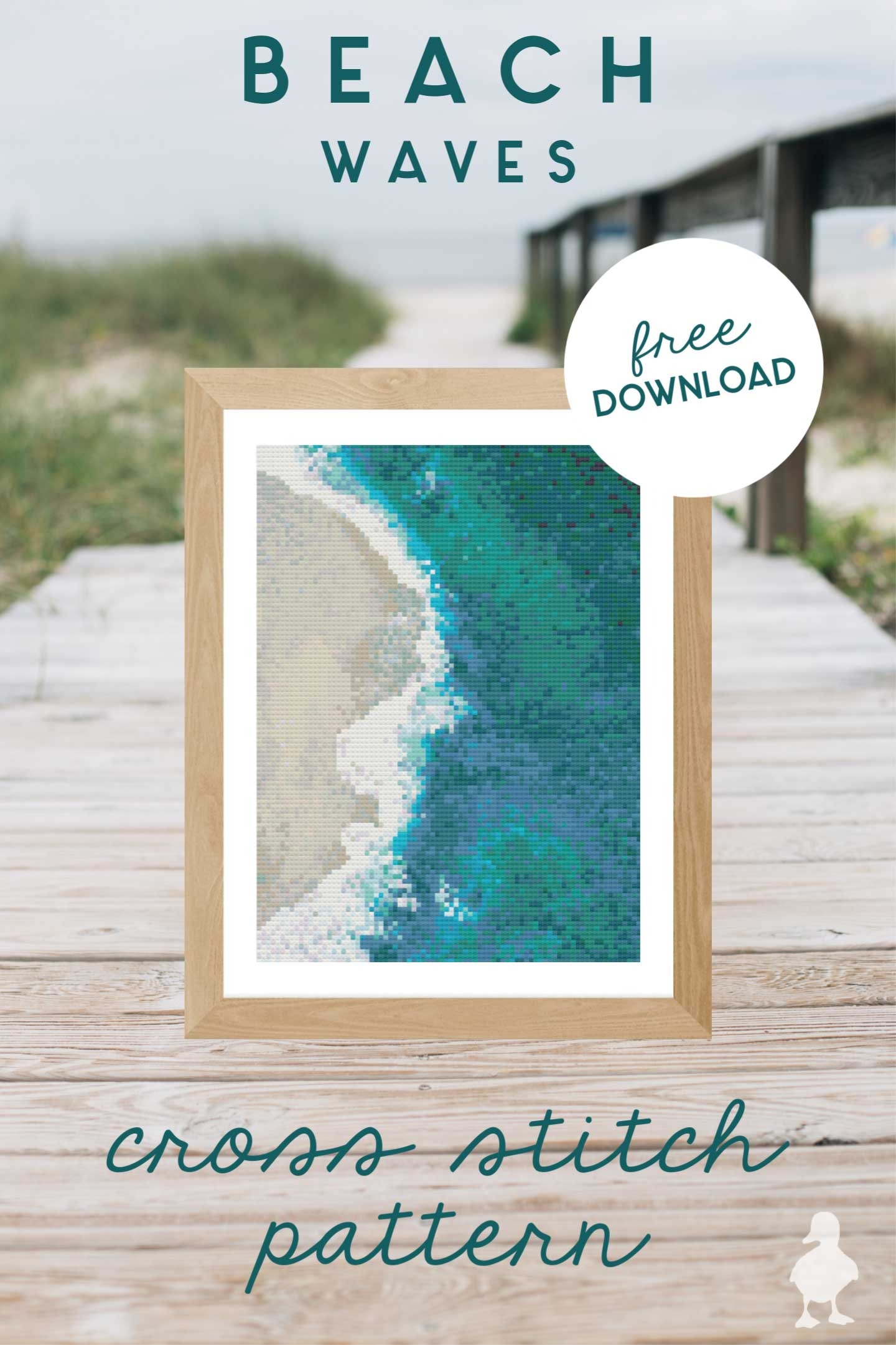beach waves cross stitch art in frame with beach background