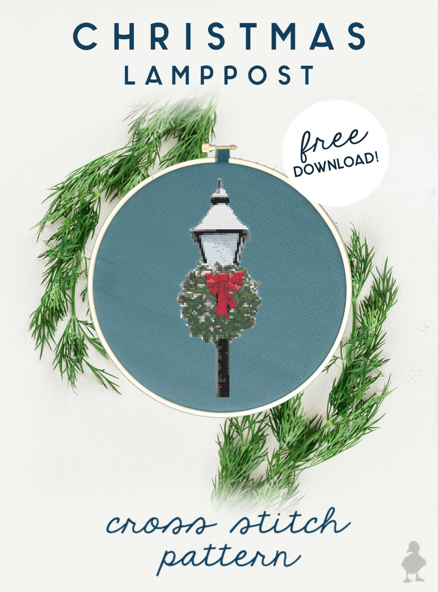 christmas lamppost cross stitch pattern free download