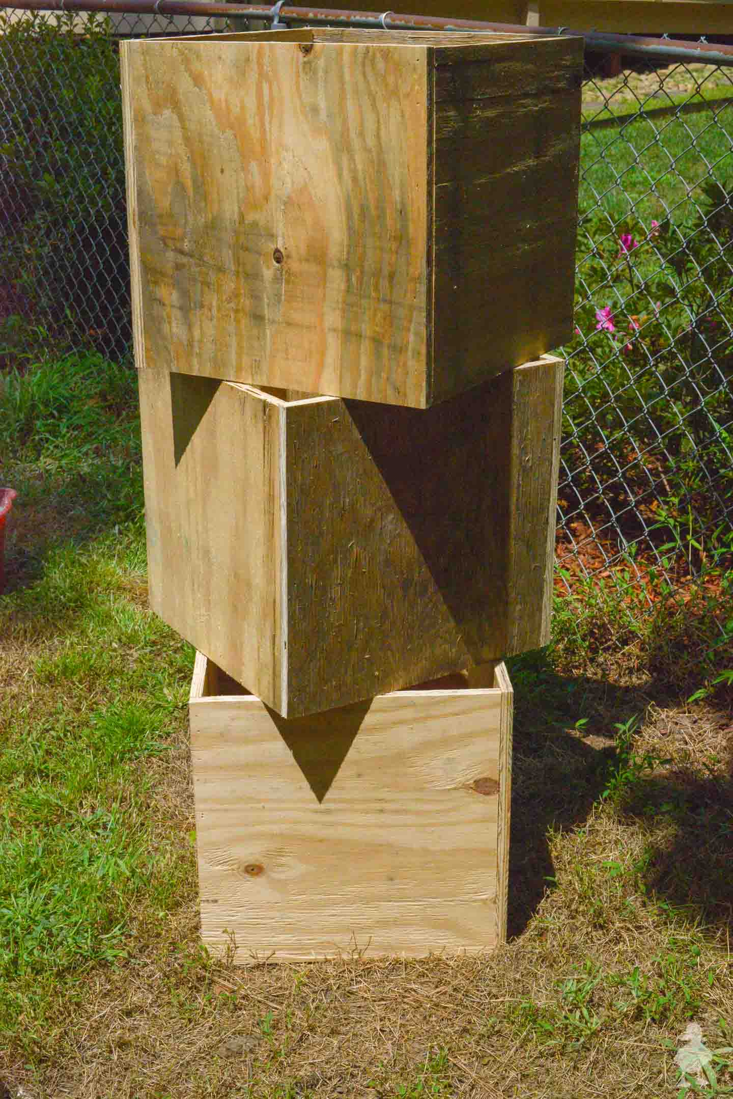 plywood cubes for light pole planters