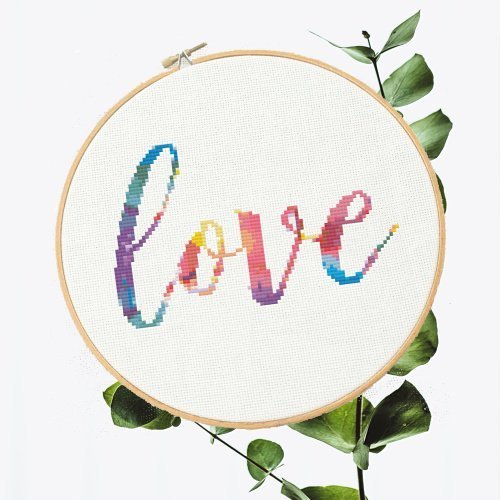 "Rainbow ""Love""   Free Cross Stich Pattern"