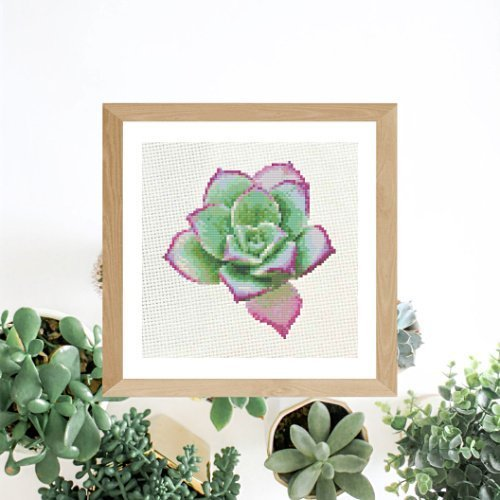 Pink & Green Spring Succulent | Free Cross Stich Pattern