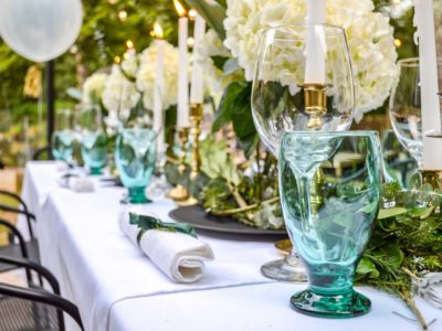white and green outdoor dinner party