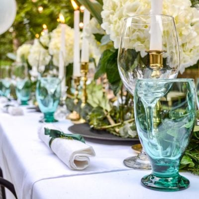 Surprise Retirement Party for Mom! | Green and White Outdoor Dinner Party