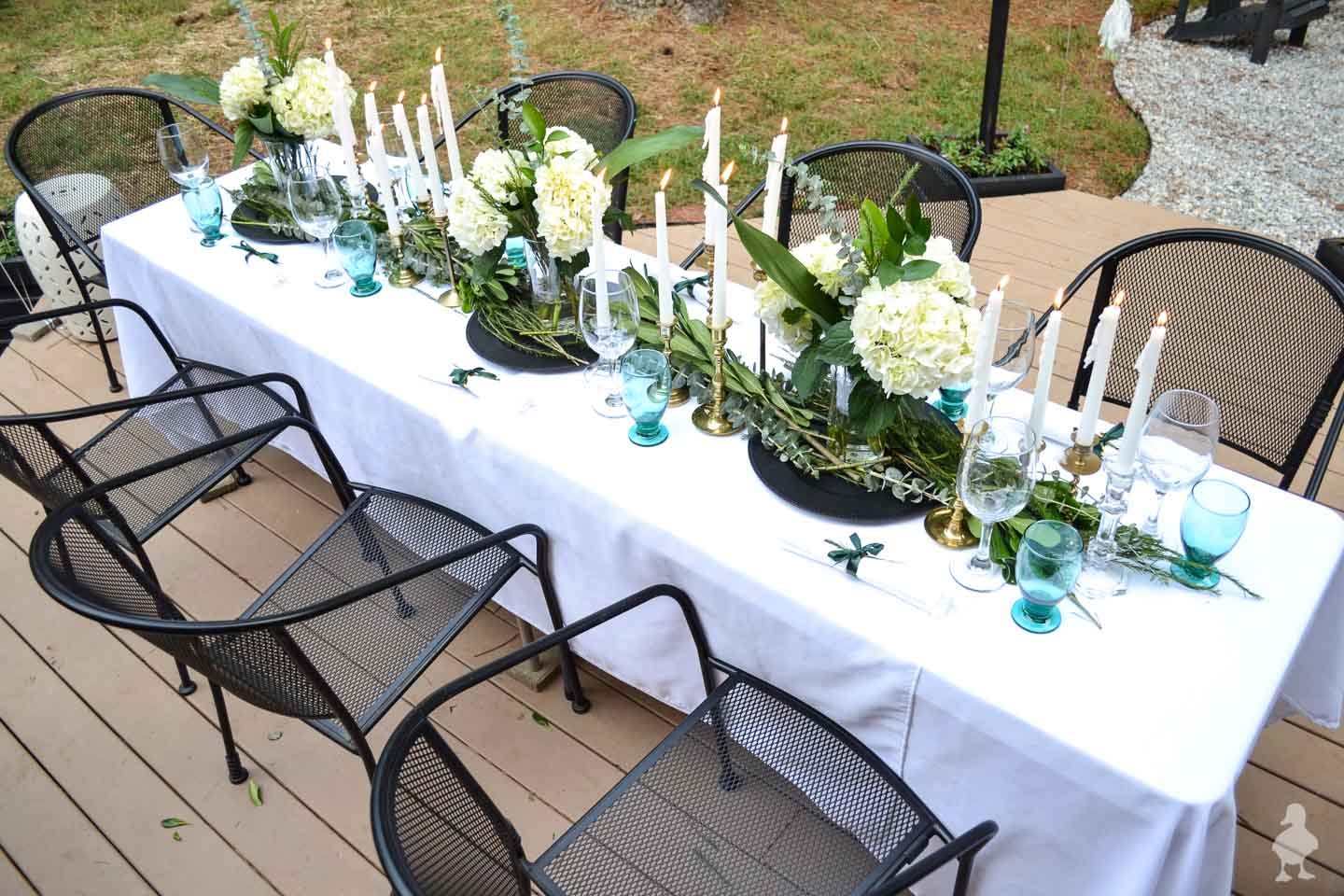 white green and teal outdoor dinner party