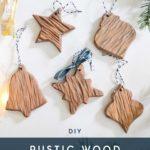 rustic wood ornament set
