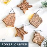 set of rustic power carved ornaments