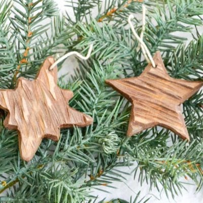 DIY rustic carved wood ornaments-7