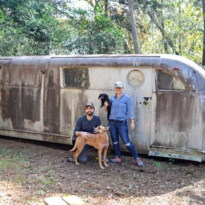Ruby's Revival: Vintage Travel Trailer 1946 Spartan Manor in a wooded field