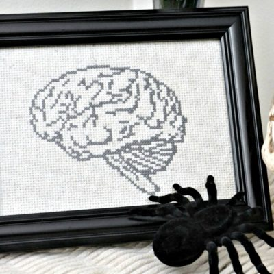 anatomical brain cross stitch pattern - halloween decor1