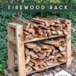 small firewood rack in wooded background