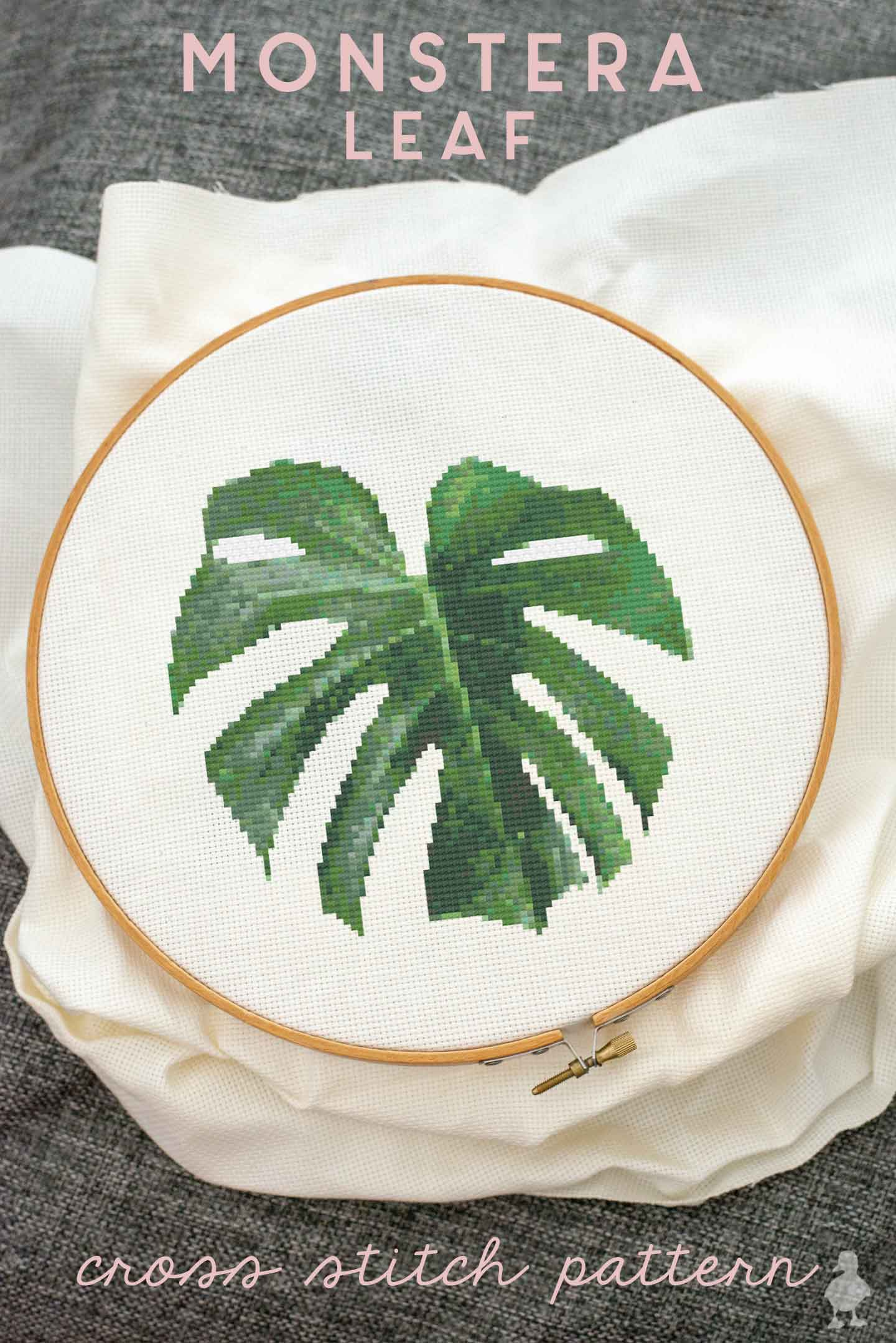 swiss cheese plant leaf cross stitch