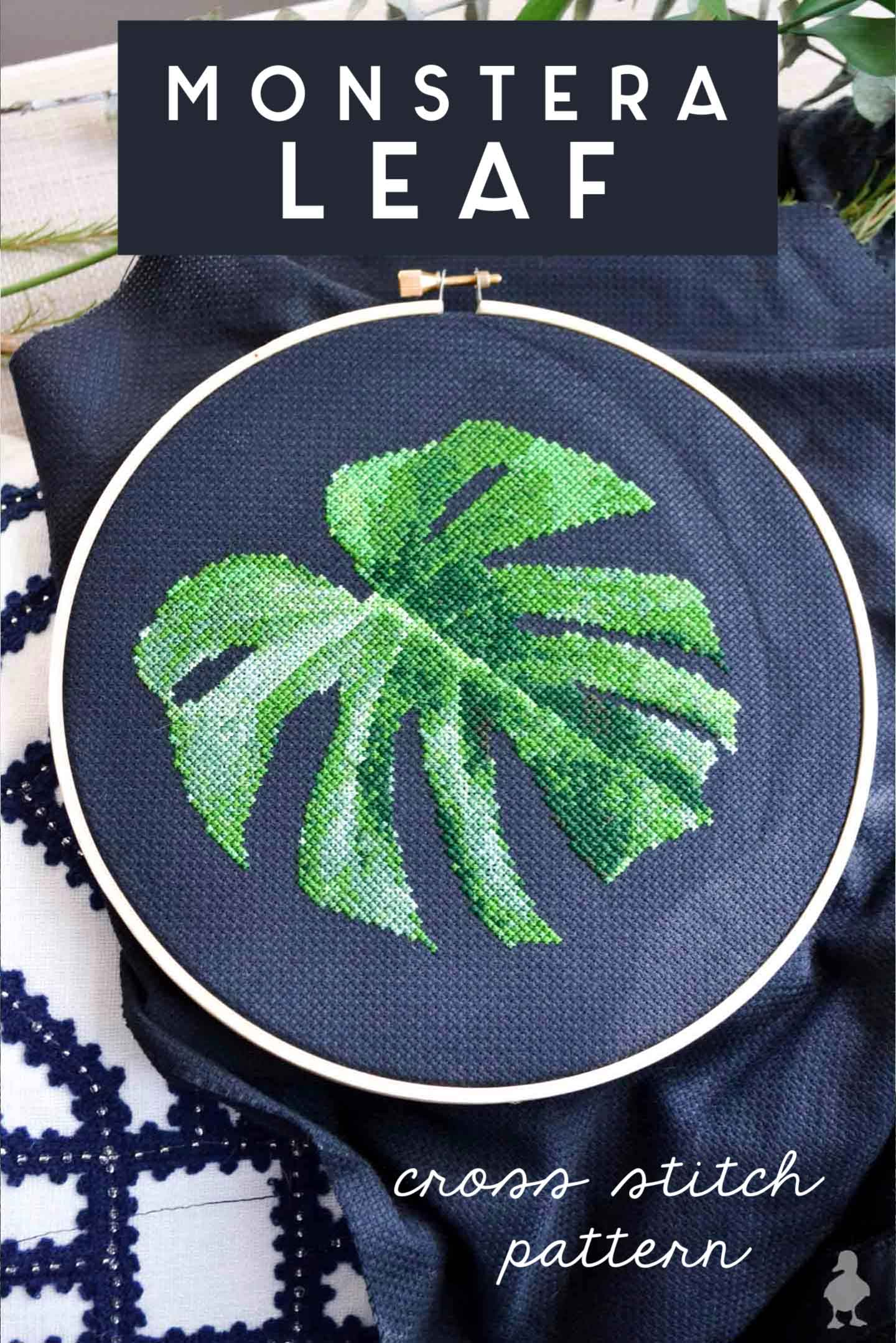 monstera-leaf - cross-stitch-pattern